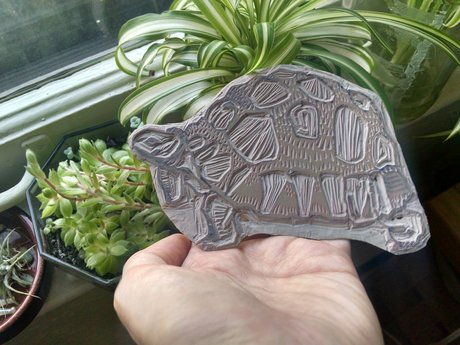 Linocut: tortoise