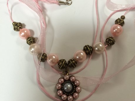 Pink Pearl and Bronze Necklace