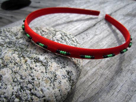 Satin Seed Beaded Headband