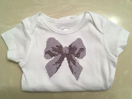 Embroidered Purple Bow Onesie