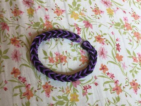 Purple and Black Rubber Bracelet