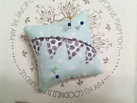 Turquoise and Polka Dot Pin Cushion