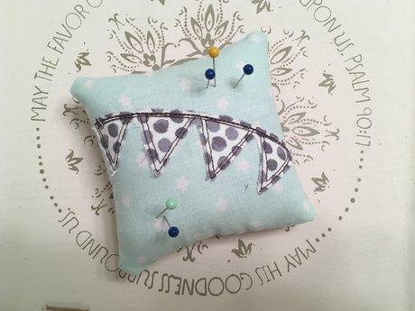Turquoise and Polka Dot Pin Cushion