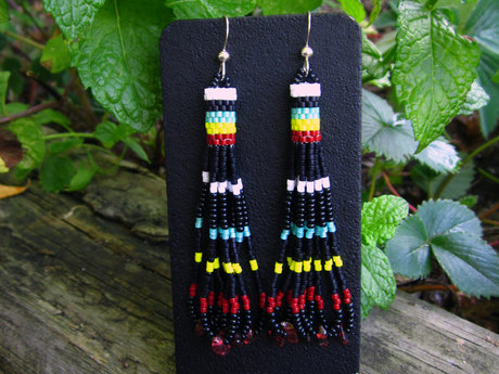 Seed Beaded Earrings with Garnet