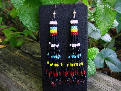 Seed Beaded Earrings with Garnet