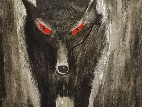 Midnight wolf watercolor painting