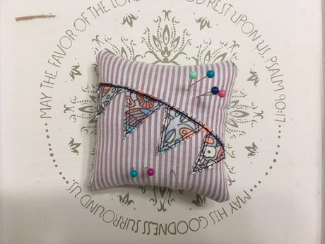Pink Striped Pin Cushion