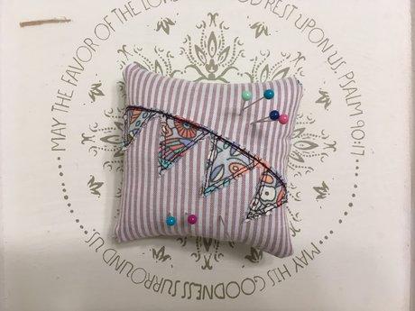 Pink Striped Pin Cushion