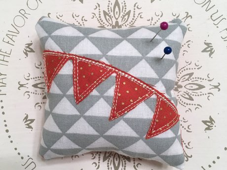 Grey and Orange Dot Pin Cushion