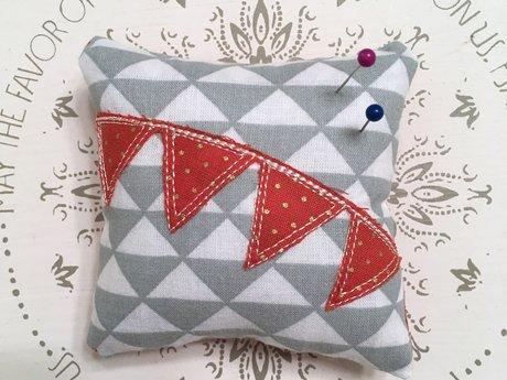 Grey and Orange Dot Pin Cushion