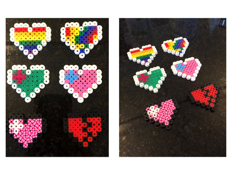 Custom Perler Bead Heart Set