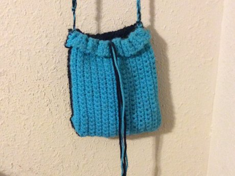 Crochet Blue Black Crossbody Bag