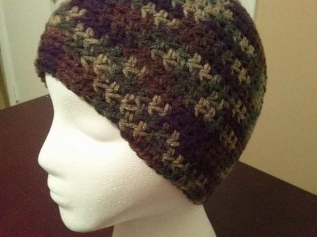 Crochet Camo Camouflage Beanie Hat