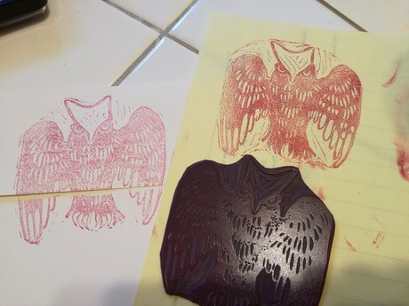 lino cut : hippie owl
