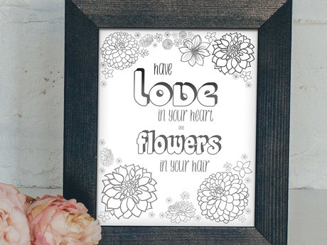 Love heart flower poster (digital)
