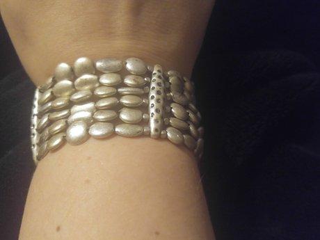 Brushed silver 6-strand bracelet