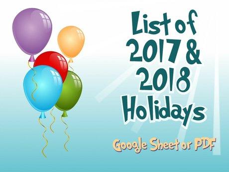 List of 2017 & 2018 Holidays