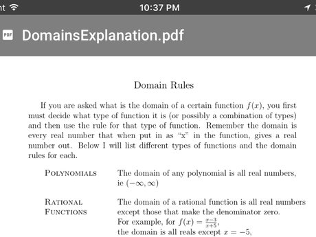 Handout on  domains of functions