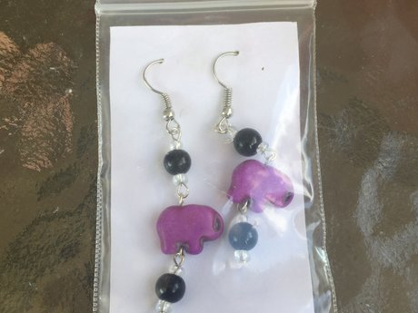 Purple elephant earrings