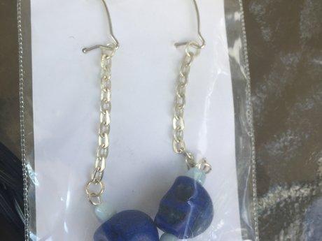 Blue skull earring