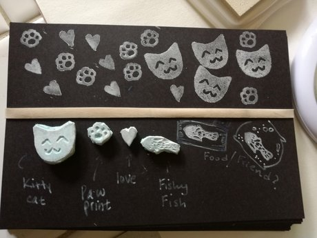 tiny rubber kitty stamp set