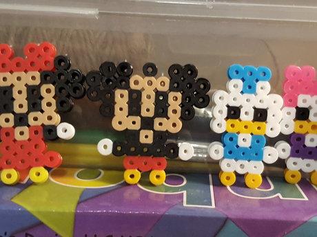Mickey mouse perler bead family .