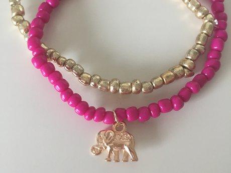 Magenta and Gold Beaded Bracelets