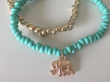 Seafoam and Gold Bracelets