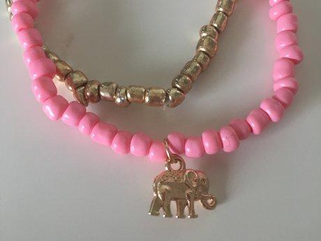Bubblegum Pink and Gold Bracelets