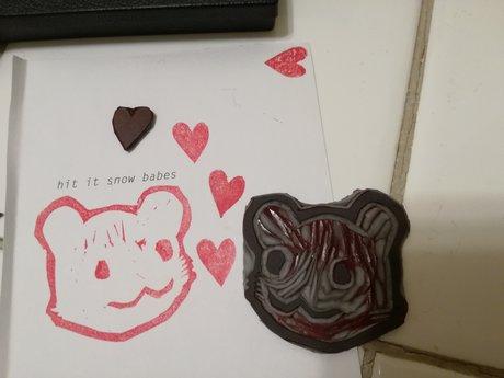 Mini linocut: bby baer heart