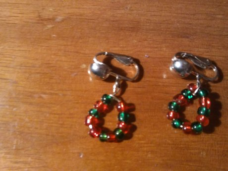Beaded clip on earrings