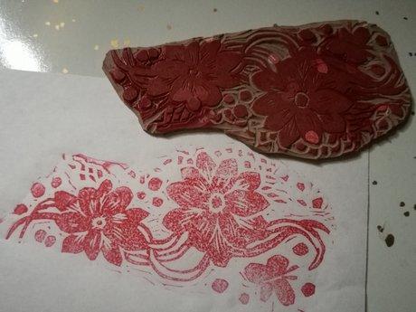 Mini linocut: floral edge