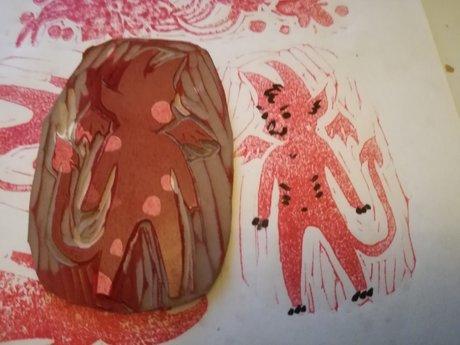 Mini linocut: lil devil