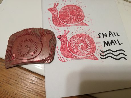 Mini linocut: snail mail