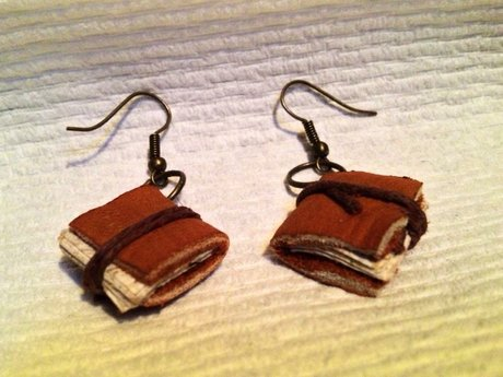 Miniature book earrings
