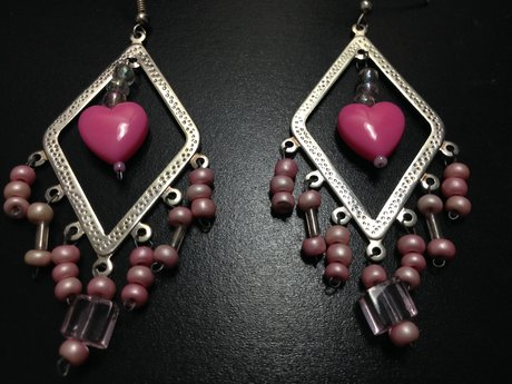 Chandelier hearts earrings