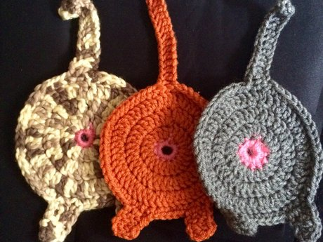 Custom crocheted cat butt coaster