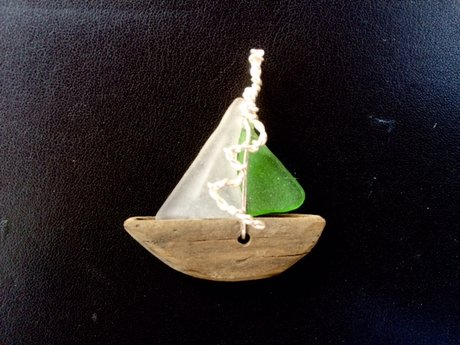 Seaglass and driftwood boat pendant
