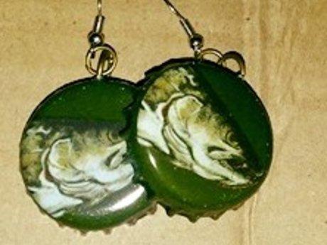 Fish Bottlecap Earrings