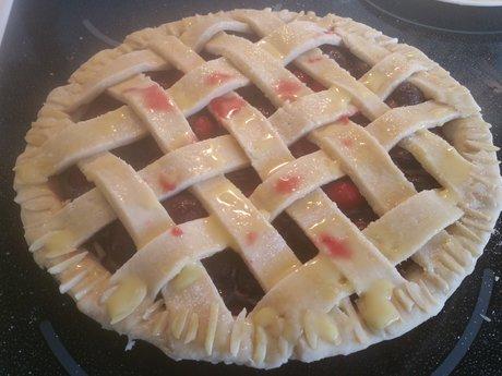 Saskatoon Rhubarb Pie (Homemade)