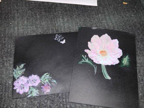 Floral black card