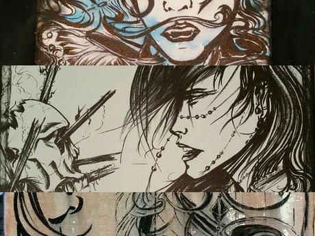 Original Ink on Canvas Artwork