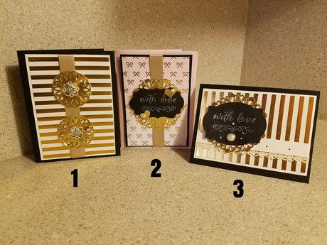 Handmade Cards - Pink Gold & Black