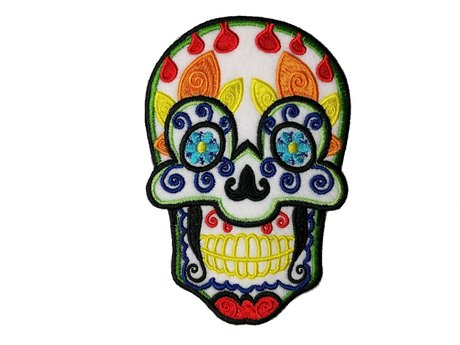 "Embroidered Sugar Skull Patch 4""x6"""