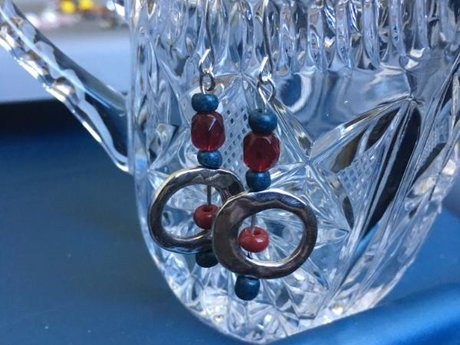 Red Blue and Silver earrings