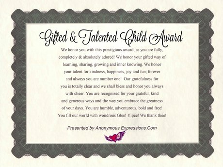 Gifted and Talented Child Awards