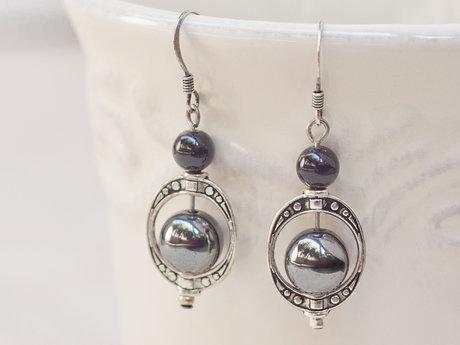 Hematite Round Beaded Earrings