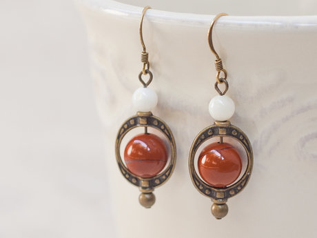 Red Jasper Round Beaded Earrings