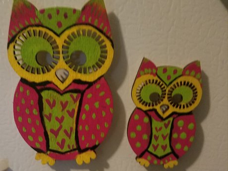 Handpainted Mommy &  Me Owl Magnets