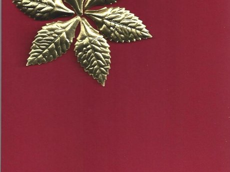 Red Christmas card with gold leaves